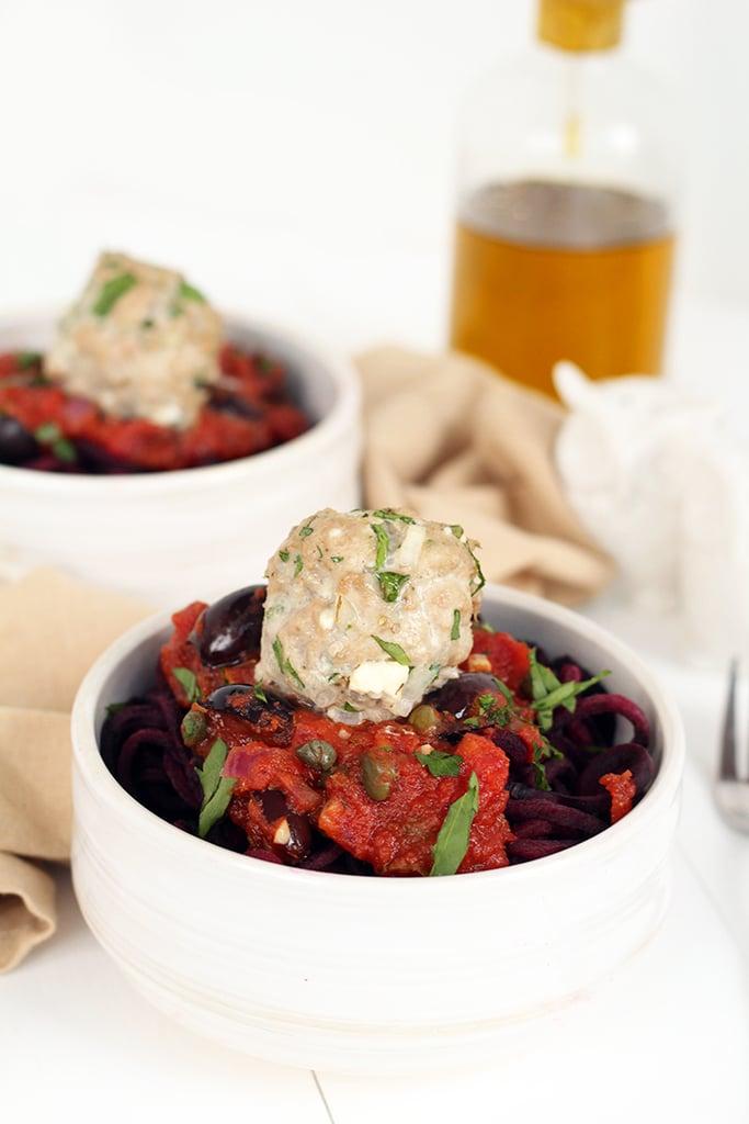 Greek Turkey Meatballs and Tomato Beet Spaghetti