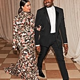 Kim Kardashian could not keep her eyes off Kanye West as they made their way to dinner at the Met Gala.  Source: Billy Farrell/BFANYC.com