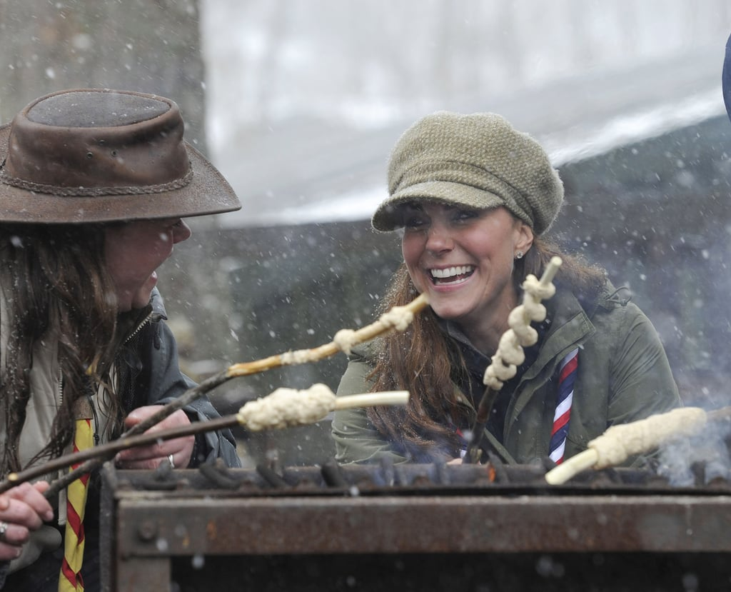 Kate Middleton showed off her camping skills when she attended a volunteer training day for the Scouts in Cumbria, England, in March 2013.
