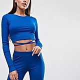 ASOS Crop Top in Rib With Tie Detail (Co-Ord)
