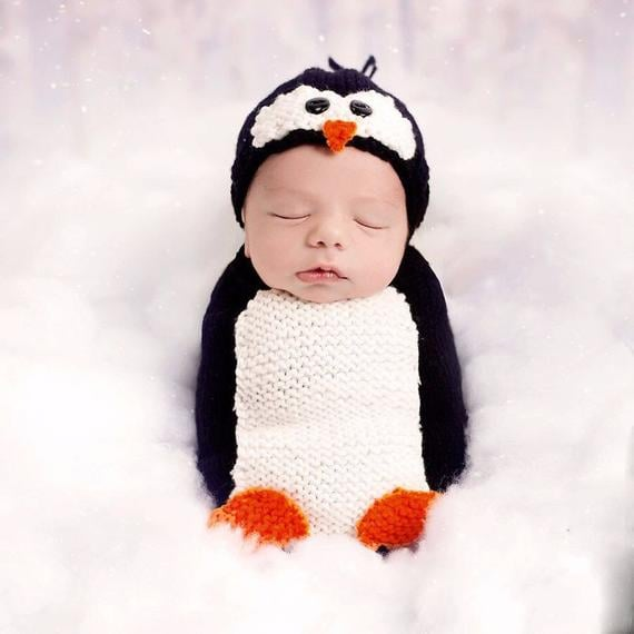 Penguin 44 Crocheted Newborn Costumes For Their First