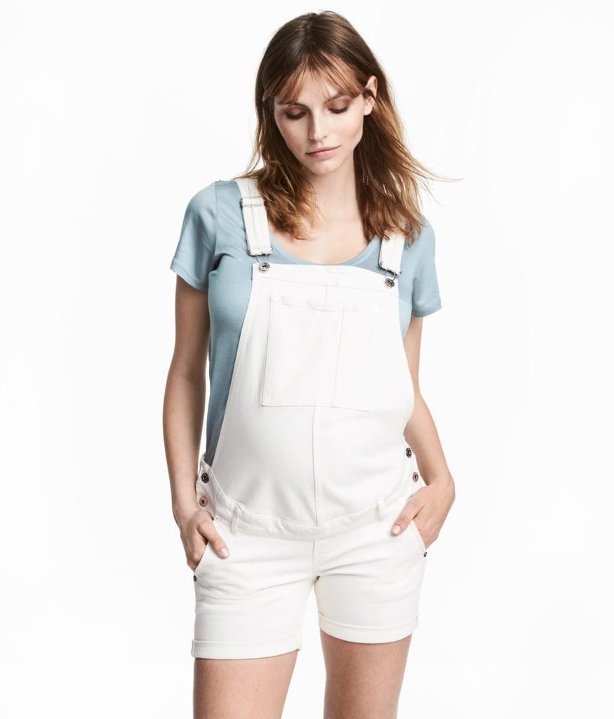 H&M MAMA Denim Bib Overall Shorts
