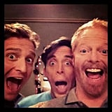 Jesse Tyler Ferguson took a picture with pals Colin Hanlon and Kevin Cahoon on the Modern Family set. Source: Twitter user jessetyler
