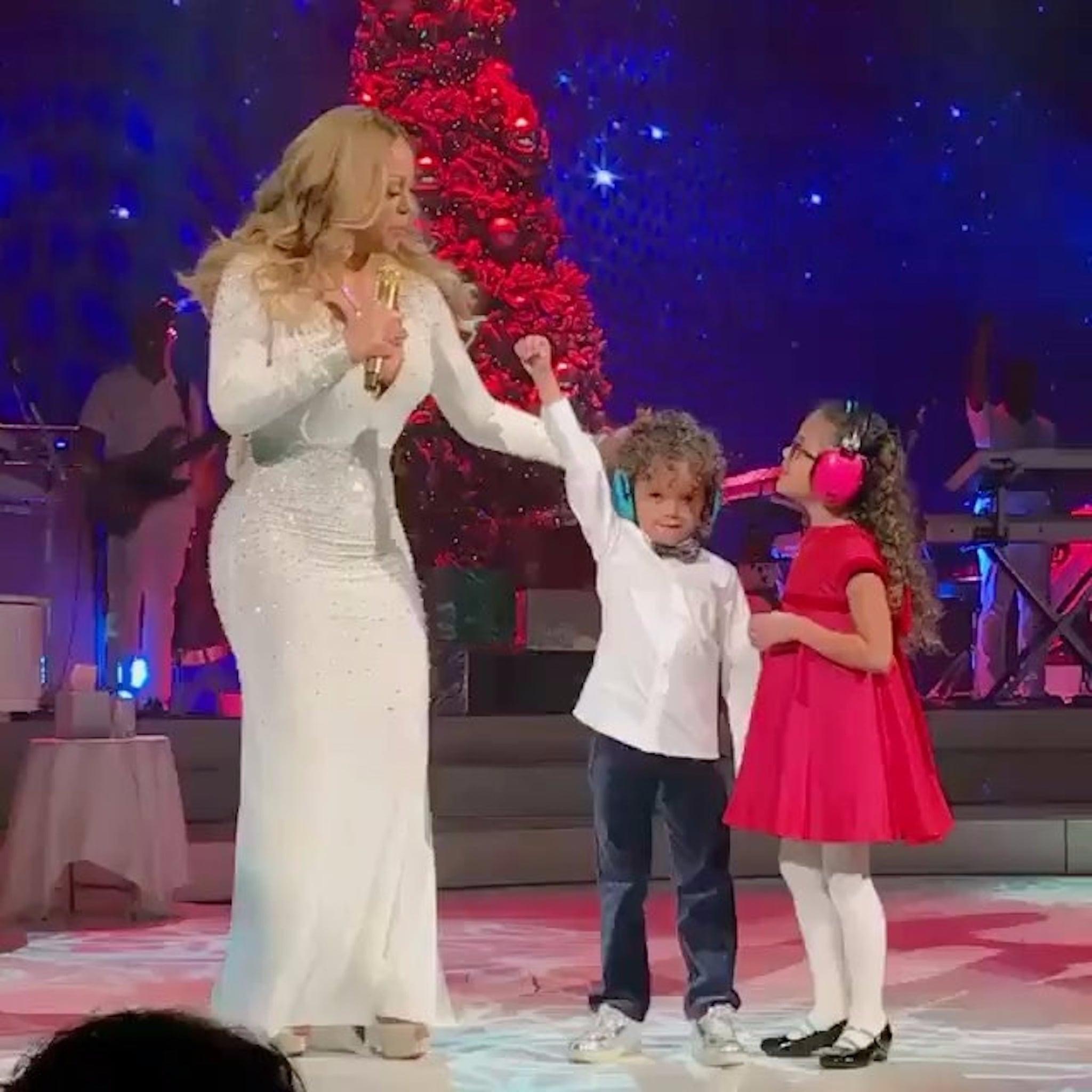 mariah carey and kids at christmas concert video 2016 popsugar celebrity