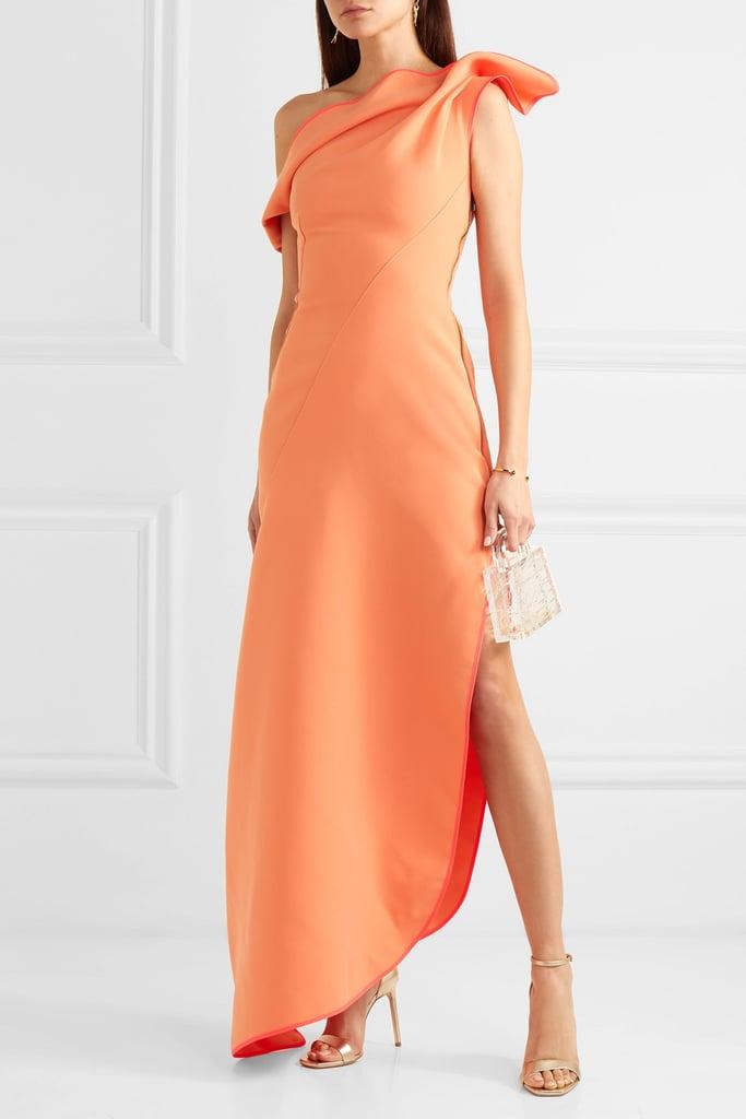 Maticevski Slinger one-shoulder asymmetric cady gown