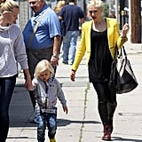 Gwen Stefani accompanied her sons to an ice-skating rink in LA.