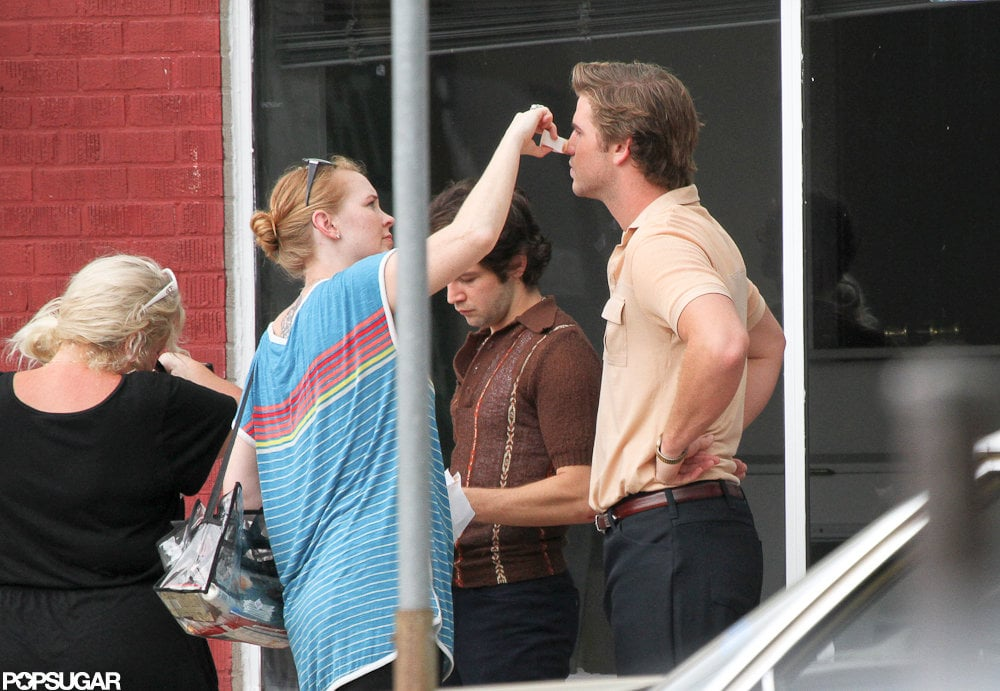 Liam Hemsworth got touched up on the set of Empire State.