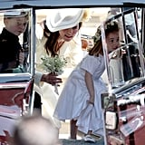 Princess Charlotte and Prince George traveled in the back seat without seatbelts or car seats after the wedding of Prince Harry and Meghan Markle at Windsor Castle in 2018.