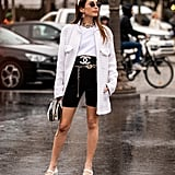 Give the biker short trend a try by pairing with a trusty white tee, oversize jacket, and Mary Janes.