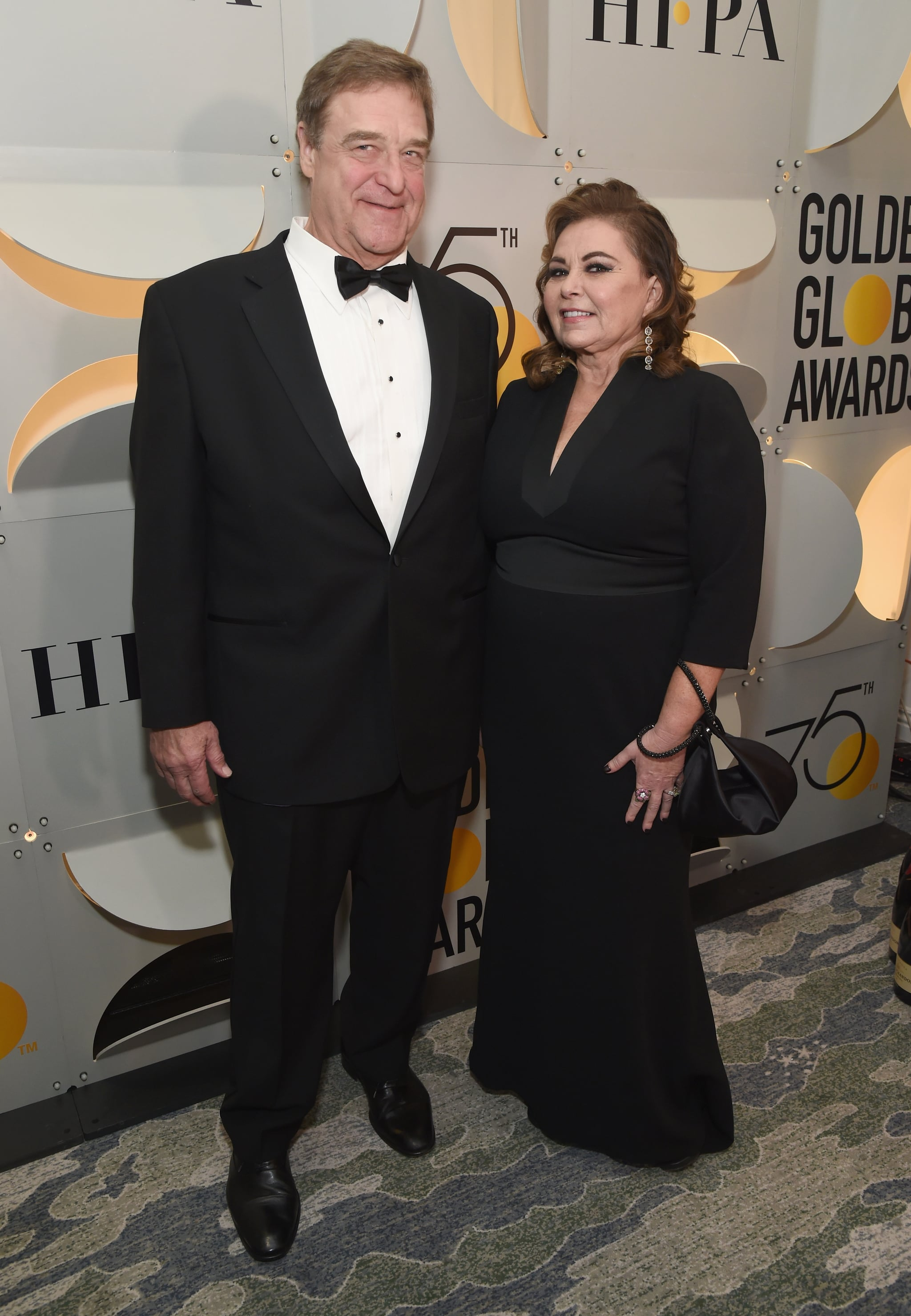 BEVERLY HILLS, CA - JANUARY 07:  Actors John Goodman (L) and Roseanne Barr celebrate The 75th Annual Golden Globe Awards with Moet & Chandon at The Beverly Hilton Hotel on January 7, 2018 in Beverly Hills, California.  (Photo by Michael Kovac/Getty Images for Moet & Chandon)
