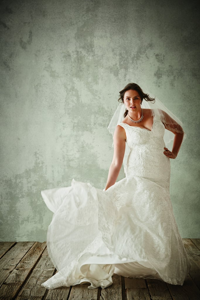 Jewel Lace Mermaid Gown With Scalloped Neckline ($900)