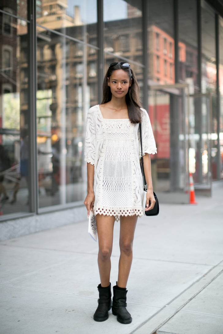 The Secret To Styling A Sweet Lace Dress Is Tough Girl