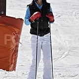 Pippa Middleton wore white pants and a black vest while skiing on vacation in France.