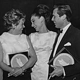 Rachel Roberts, Audrey Hepburn, and Dirk Bogarde, 1964