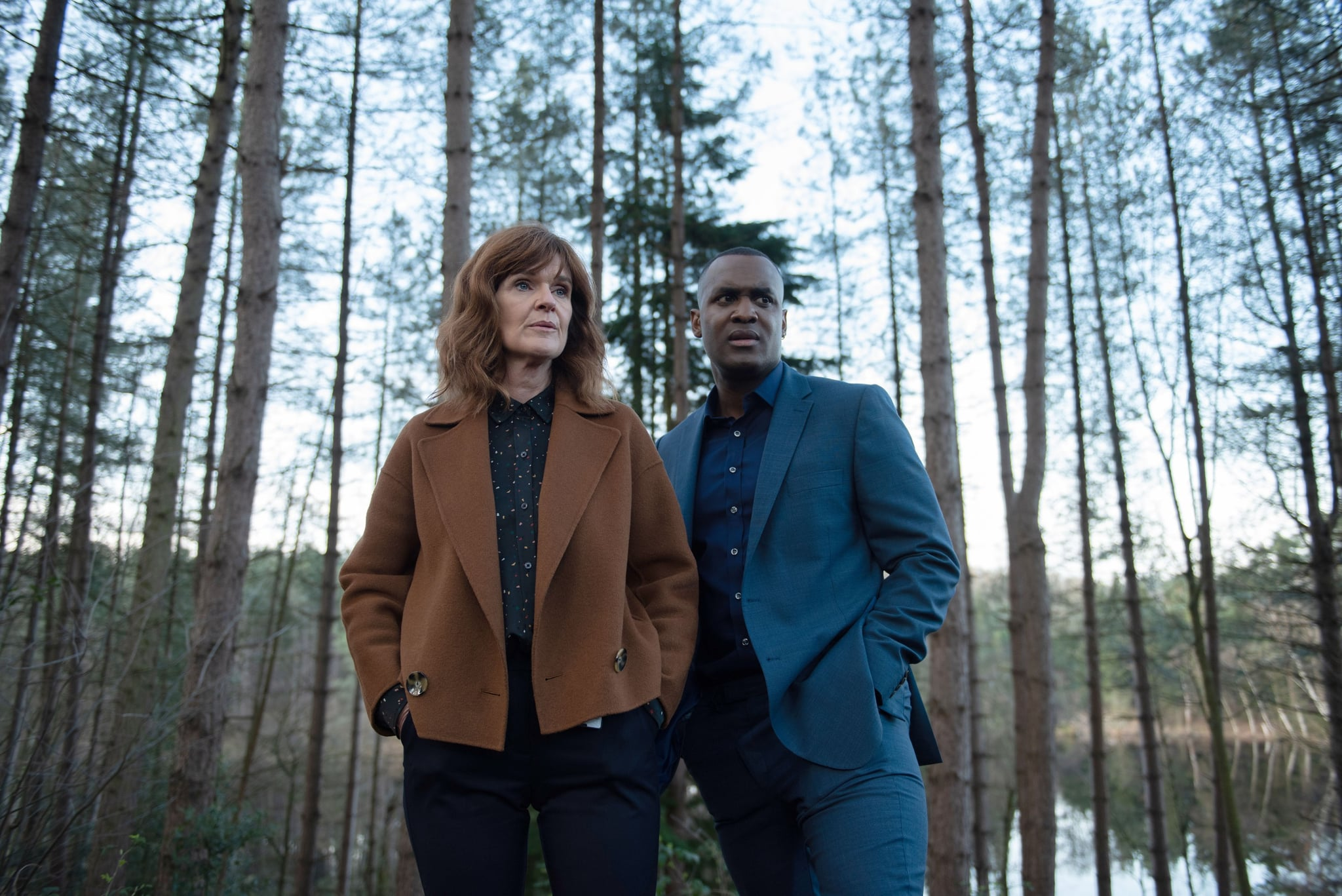 THE STRANGER, from left: Siobhan Finneran, Kadiff Kirwan, (Season 1, aired January 30, 2020). photo: Netflix / Courtesy Everett Collection
