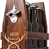Cathy's Concepts Personalized Antlers Rustic Craft Beer Carrier With Bottle Opener