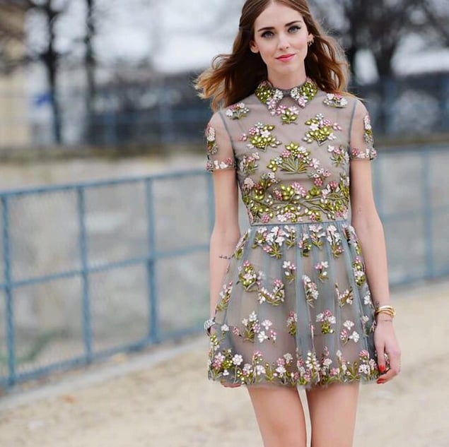 Chiara Ferragni let the floral appliqué on her collared minidress stand out by blurring out the background of her photo.