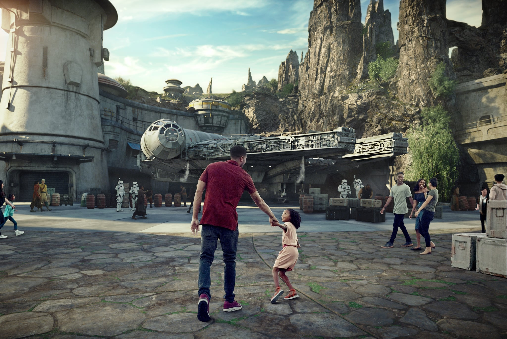 Star Wars: Galaxys Edge will open May 31, 2019, at Disneyland Park in Anaheim, California, and August 29, 2019, at Disney's Hollywood Studios in Lake Buena Vista, Florida. At 14 acres each, Star Wars: Galaxys Edge will be Disney's largest single-themed land expansions ever, transporting guests to live their own Star Wars adventures in Black Spire Outpost, a village on the remote planet of Batuu, full of unique sights, sounds, smells and tastes. Guests can become part of the story as they sample galactic food and beverages, explore an intriguing collection of merchant shops and take the controls of the most famous ship in the galaxy aboard Millennium Falcon: Smugglers Run. (Disney Parks)