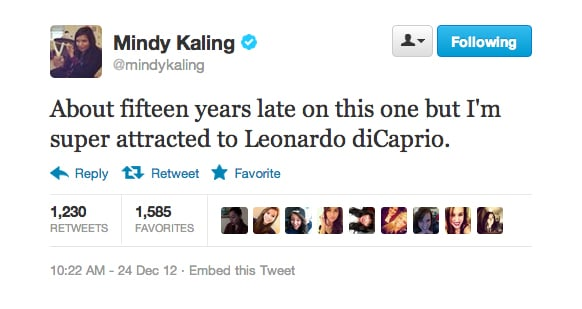 Mindy Kaling is finally swooning over Leo.