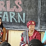 The first lady visted a female education program in Liberia, where she told girls to stay in school.