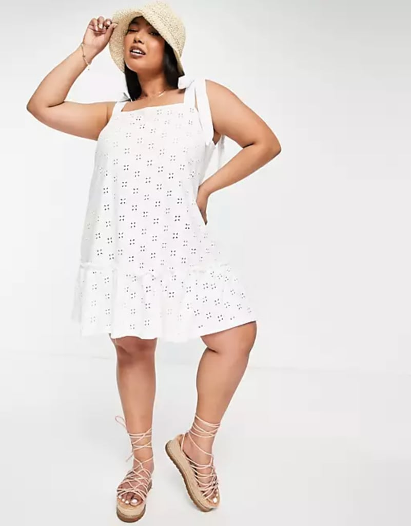 ASOS Design Broderie Tie Strap Mini Dress