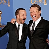 Breaking Bad costars Aaron Paul and Bryan Cranston were pumped up about their 2014 win!