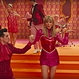Taylor's Pink and Red Heart Sequined Dress and Christian Louboutin Flats