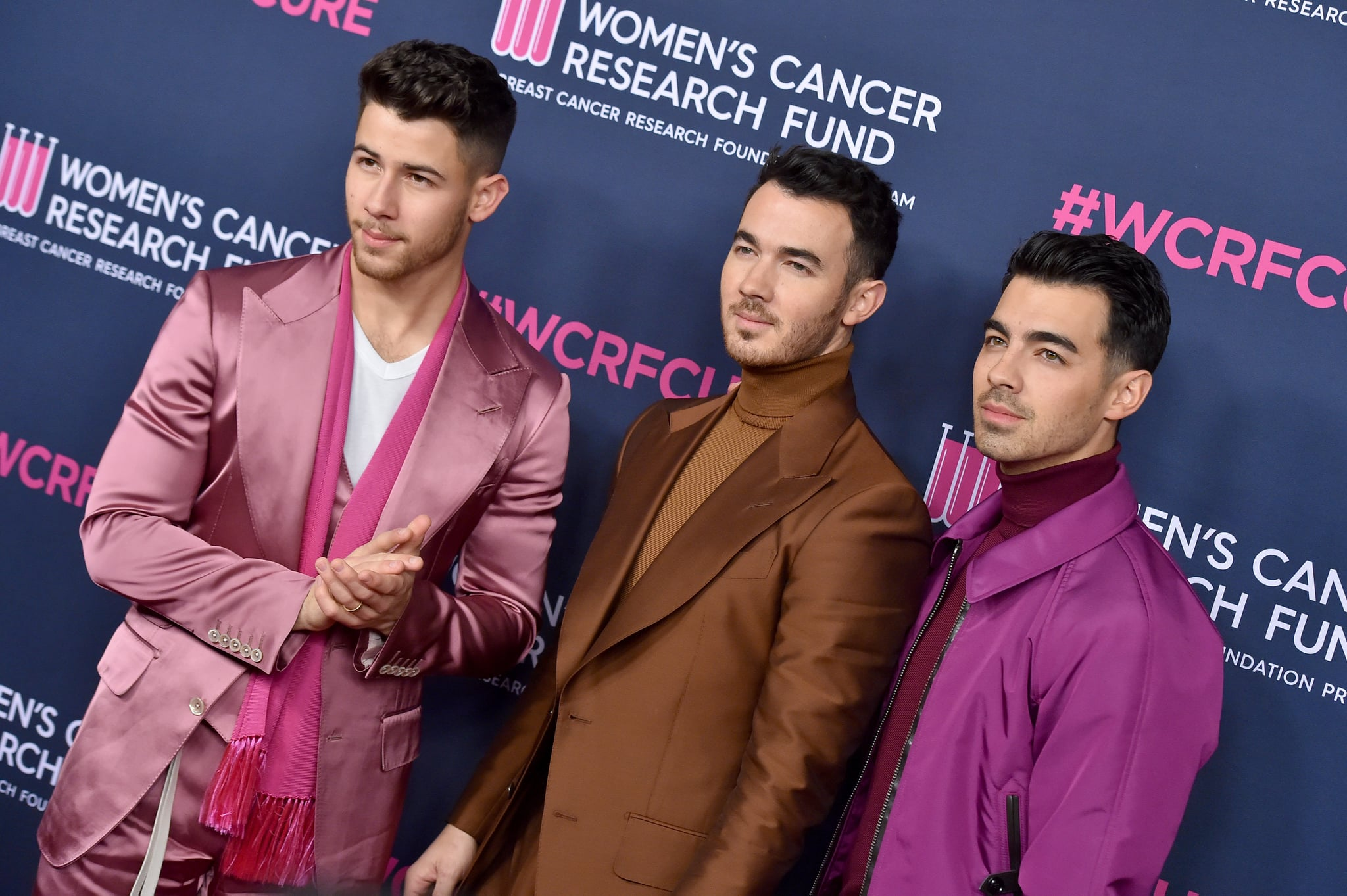 BEVERLY HILLS, CALIFORNIA - FEBRUARY 27: (L-R) Nick Jonas, Kevin Jonas, and Joe Jonas of Jonas Brothers attend The Women's Cancer Research Fund's An Unforgettable Evening 2020 at Beverly Wilshire, A Four Seasons Hotel on February 27, 2020 in Beverly Hills, California. (Photo by Axelle/Bauer-Griffin/FilmMagic)