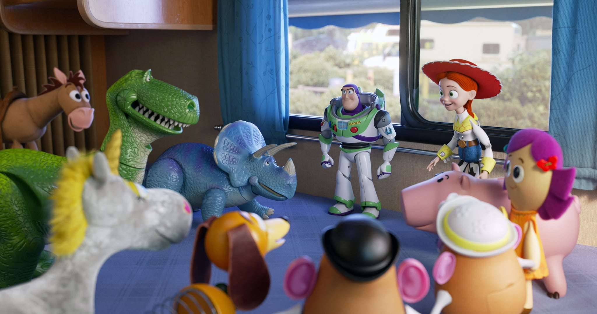 TOY STORY 4, rear from left: Bullseye, Rex (W. Shawn), Trixie (K. Schaal), Buzz Lightyear (T. Allen), Jessie (J. Cusack), Hamm (J. Ratzenberger), Dolly (B. Hunt), 2019.  Walt Disney Studios Motion Pictures / courtesy Everett Collection