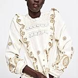 Zara Ruffled Embroidered Blouse