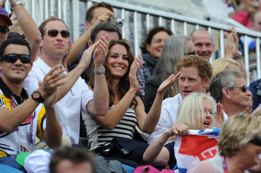 Prince William, Kate Middleton, and Prince Harry clapped.