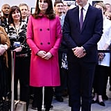 For a visit to the Coventry University in Jan., Kate wore a hot pink Mulberry coat.