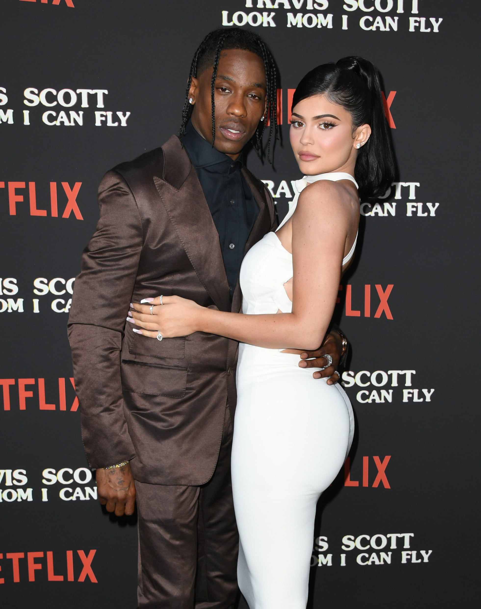 SANTA MONICA, CALIFORNIA - AUGUST 27:  Travis Scott and Kylie Jenner attend the Premiere Of Netflix's