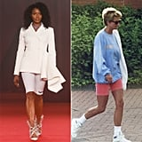 Princess Diana was known for wearing sweatshirts and biker shorts on her trips to the gym. Naomi Campbell closed the Off-White show in a pair of similar pink nylons. They were paired with a ruffled blazer, which paid homage to Princess Diana's impeccably tailored Catherine Walker suits, and of course, a diamond choker was made to reference the royal's jewelry collection.