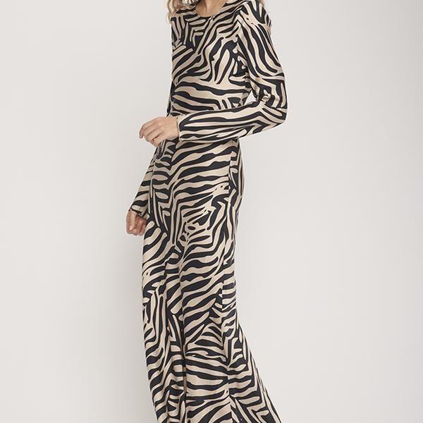 Silk Laundry Full Sleeve Bias Cut Dress