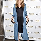 Behati dressed her bump with a slip dress and fresh denim overcoat at the Juicy Couture Black Label launch.