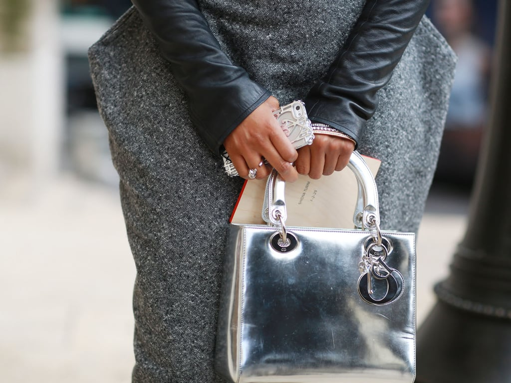 We're obsessed with Shiona Turini's metallic Dior bag.