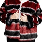 Rachel Roy Stripe Faux Fur Coat