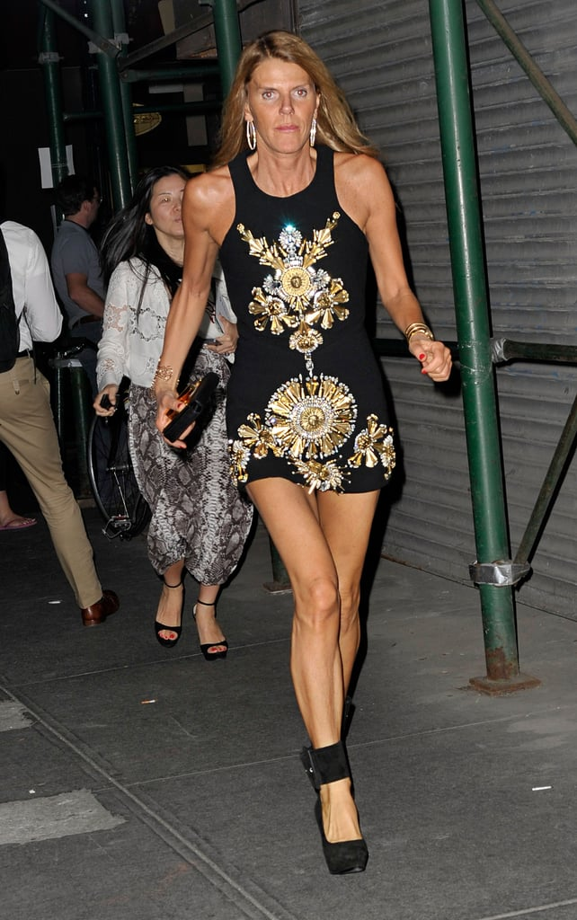 Anna Dello Russo did high-wattage glam in an embellished, up-to-there LBD.