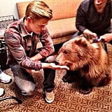 Dancing With the Stars' Derek Hough hung out with a kodiak cub. Source: Instagram user derekhough