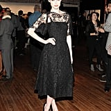 Coco Rocha was at her most ladylike in a lacy cocktail dress at the Dolce & Gabbana and Vogue benefit for the Coalition for the Homeless.