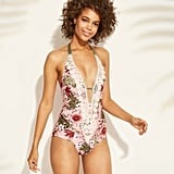 Crochet Trim Plunge One-Piece Swimsuit