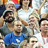 Kirsten Dunst cheered during the game.