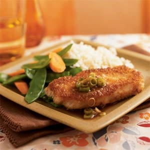 Fast & Easy Dinner: Wasabi and Panko-Crusted Pork With Gingered Soy Sauce