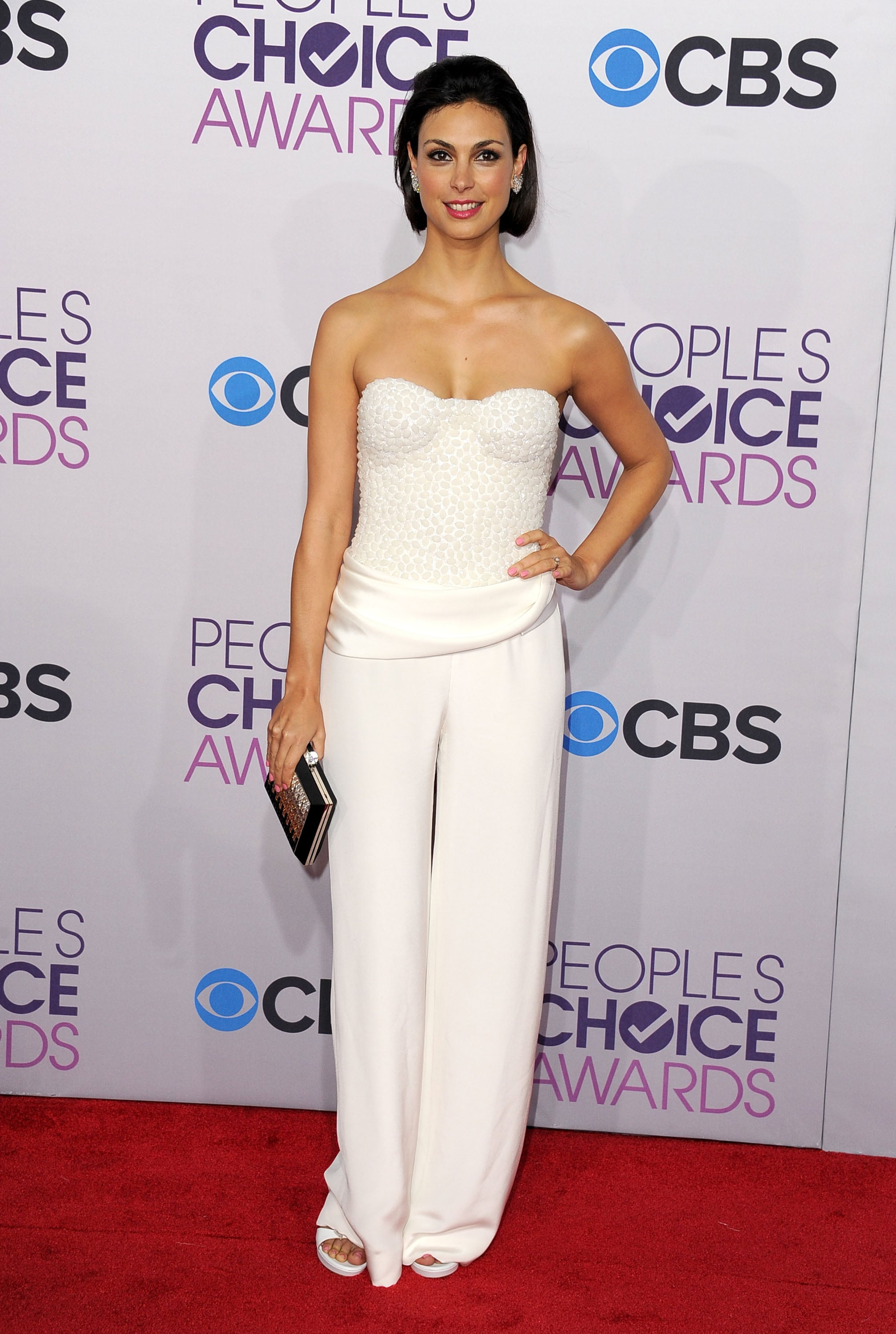 Morena Baccarin wore a white pantsuit.