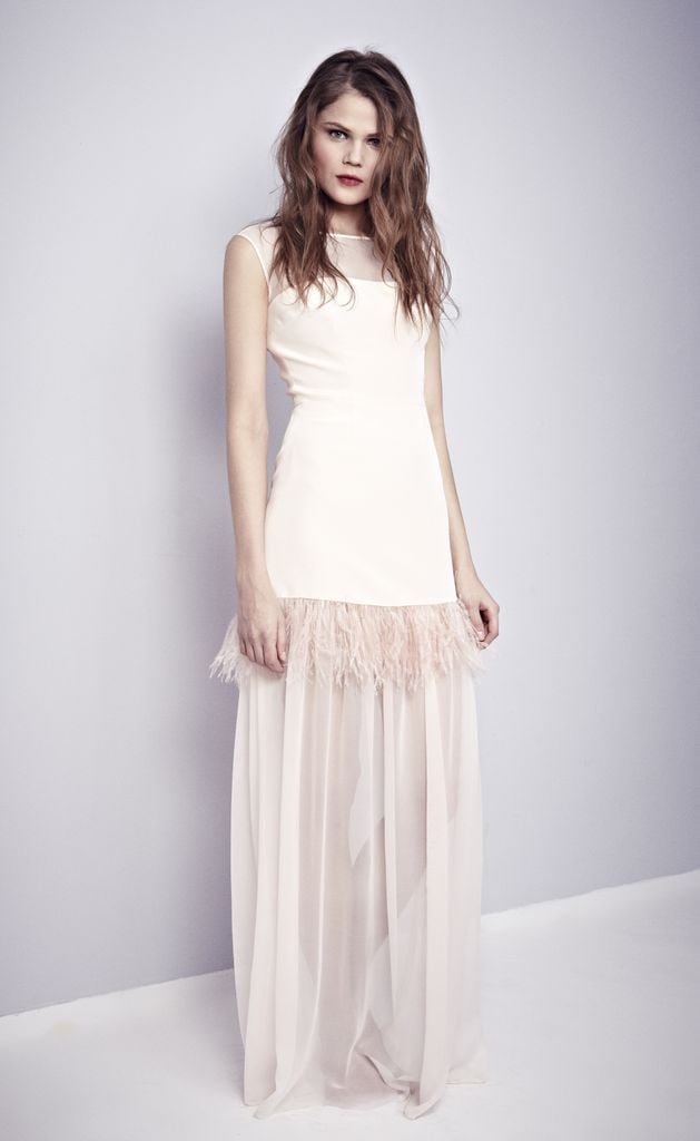 This silk and ostrich-feather gown with sheer neckline and shirred ...