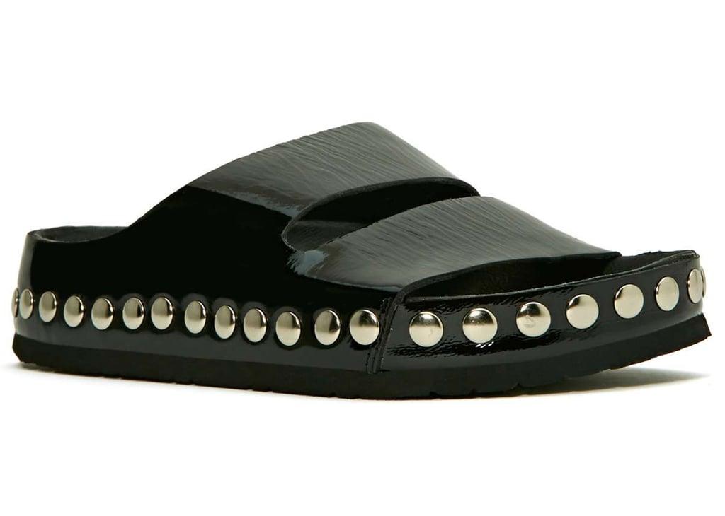 Jeffrey Campbell black studded Jerez flat sandals ($130)