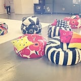 The mood backstage at Marimekko was relaxed and fun with all these bean-bag pillows.