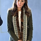 The Duchess of Cambridge likes the blazer so much, she also owns it in an army green color. She wore this one in 2016 to visit the Haida Heritage Centre and Museum.