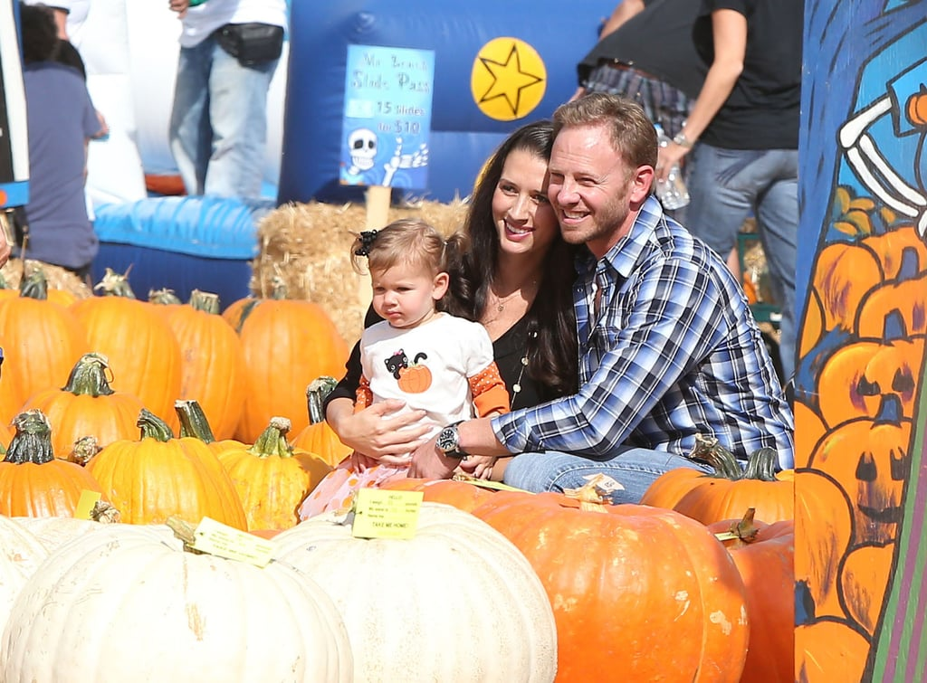Ian Ziering and his wife, Erin, posed for a Fall photo with their daughter, Mia, at Mr. Bones in LA.